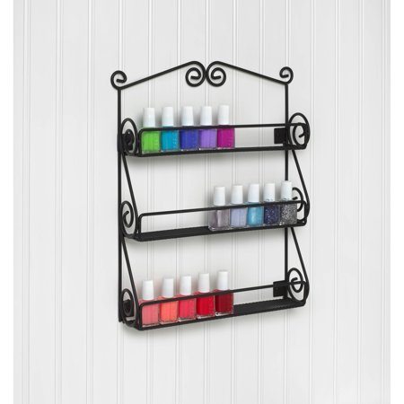 Spectrum Scroll Nail Polish Holder Wall Mount, Black
