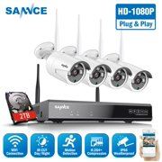 SANNCE 8CH 1080P WIFI CCTV NVR System HDMI 4PCS 2.0 MP Outdoor P2P Home WiFi IP Camera Security System Surveillance Kit with 2TB Hard Drive Disk