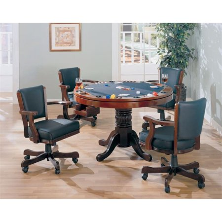 Coaster Mitchell 5 Piece 3-in-1 Game Table Set in (Cherry Roulette Table)