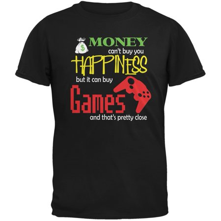 Money Happiness Video Games Funny Black Adult T-Shirt - Large Happiness Adult T-shirt
