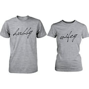 Cute Hubby and Wifey Couple Shirts Valentines Day Matching Grey T-shirts