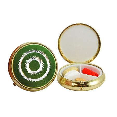 3 Compartment Round Fashion Pill Case (Green Circle) ()