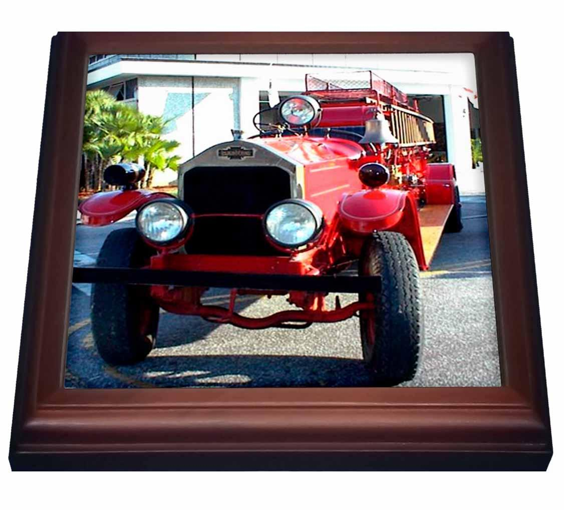 3dRose Old Fire Truck, Trivet with Ceramic Tile, 8 by 8-inch