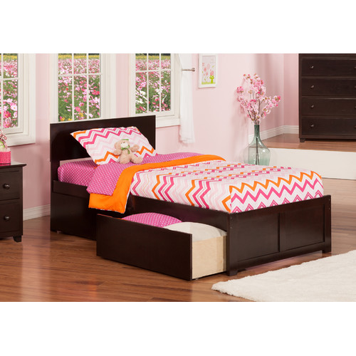 Atlantic Furniture Orlando Extra Long Twin Panel Bed with Storage