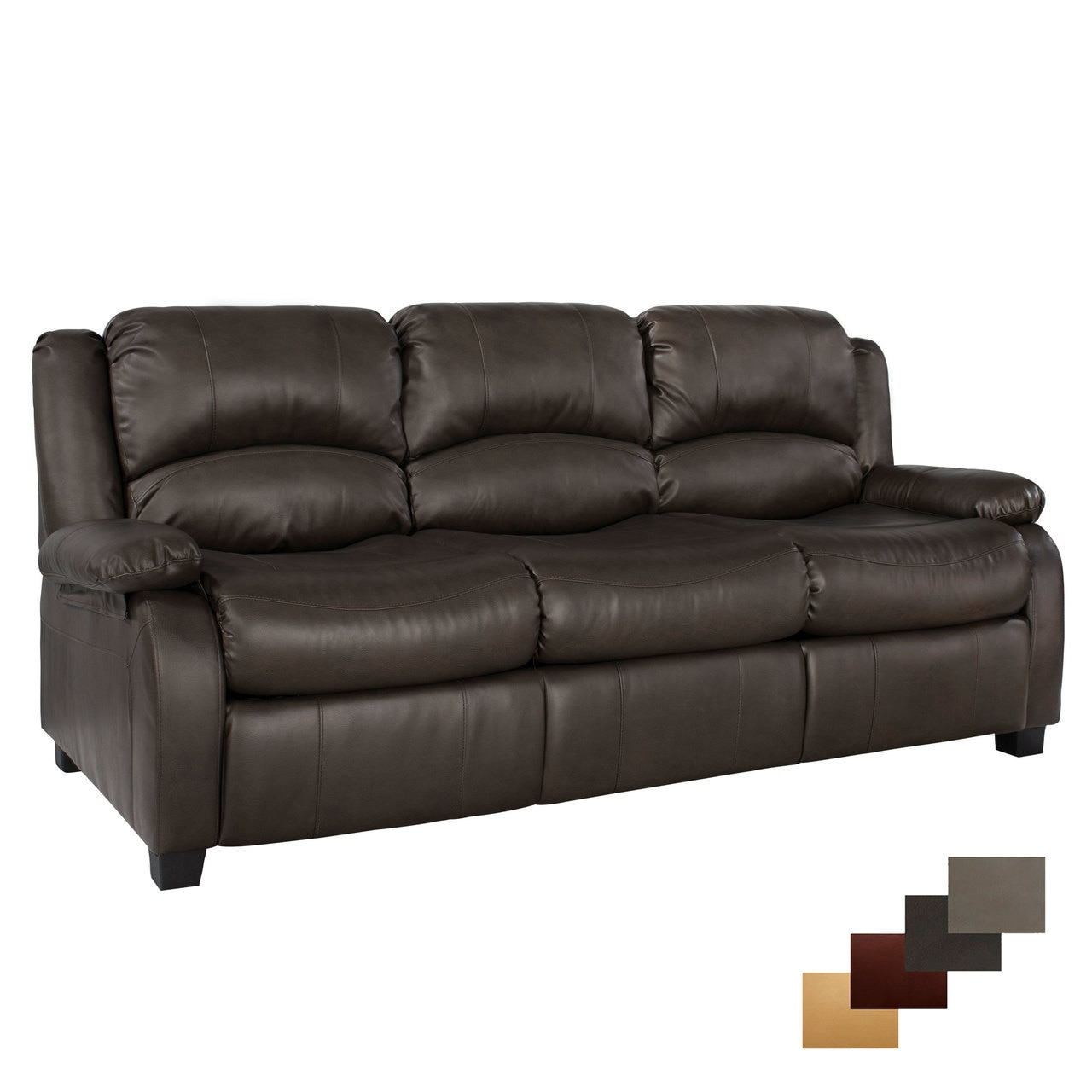 """RecPro Charles 80"""" RV Sleeper Sofa w/ Hide A Bed-Chestnut"""
