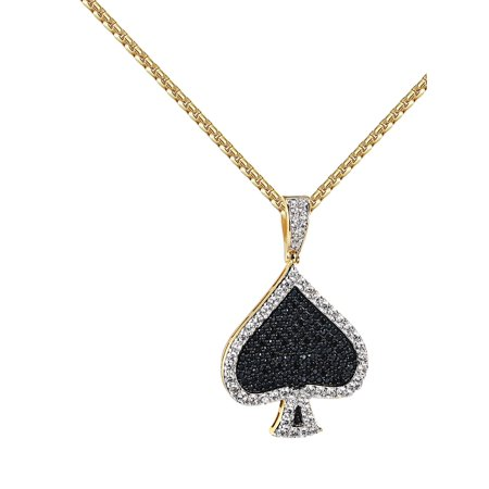 Playing Cards Spades Pendant Black Simulated Diamonds Iced Out 14k Rose Gold Tone Chain