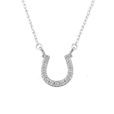 10K White Gold 1/10cttw Natural Round-Cut Diamond (I-J Color, I2-I3 Clarity) Horseshoe Pendant-Necklace, 18