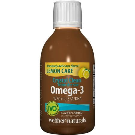 CRYSTAL CLEAN A partir de la mer Omega 3 1250 mg d'EPA / DHA, Gâteau au citron, 6,76 Oz