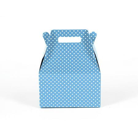 12CT (1 Dozen) Small Biodegradable Kraft / Craft Favor Treat Gable Boxes, Gift Expressions (Small, Polka Dot Light Blue) Blue Polka Dot Gift