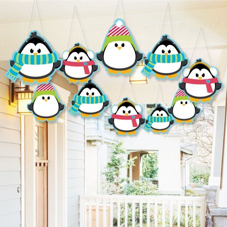 Hanging Holly Jolly Penguin - Outdoor Holiday & Christmas Hanging Porch & Tree Yard Decorations - 10 Pieces