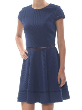 CITY STUDIO Womens Navy Textured Short Sleeve Above The Knee Party Dress Juniors Size: 1