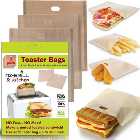 Toaster Bags Set of 3 Non-stick Teflon Reusable - Perfect for Grilled Cheese Sandwiches - Best Grill Cheese Bags - Toasted Sandwich Bags - Microwave Oven Toaster Bags - FDA-Approved Panini Toast