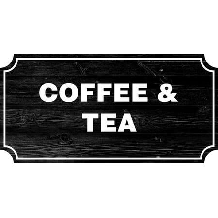 Coffee & Tea Farmhouse Country Sign, Rustic Wall Decor Living Room Signs, 12x24 Inch Farm Room Decor