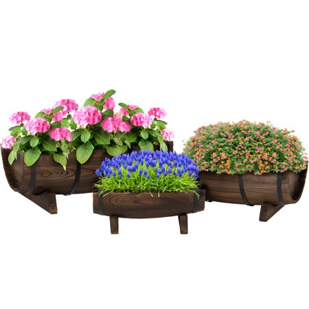 Best Choice Products Set of 3 Wood Garden Decor Rustic Half Barrel Planters w/ Small, Medium, Large Flower Bed for Backyard, Patio - Brown