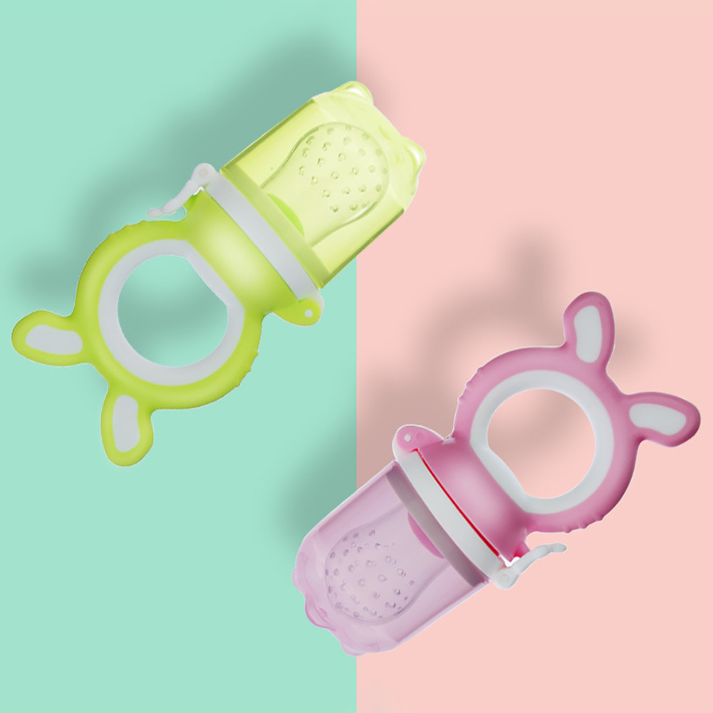 Baby Fresh Food Feeder Infant Fruit Teething Toy, Silicone Pouches for Toddlers Light Green