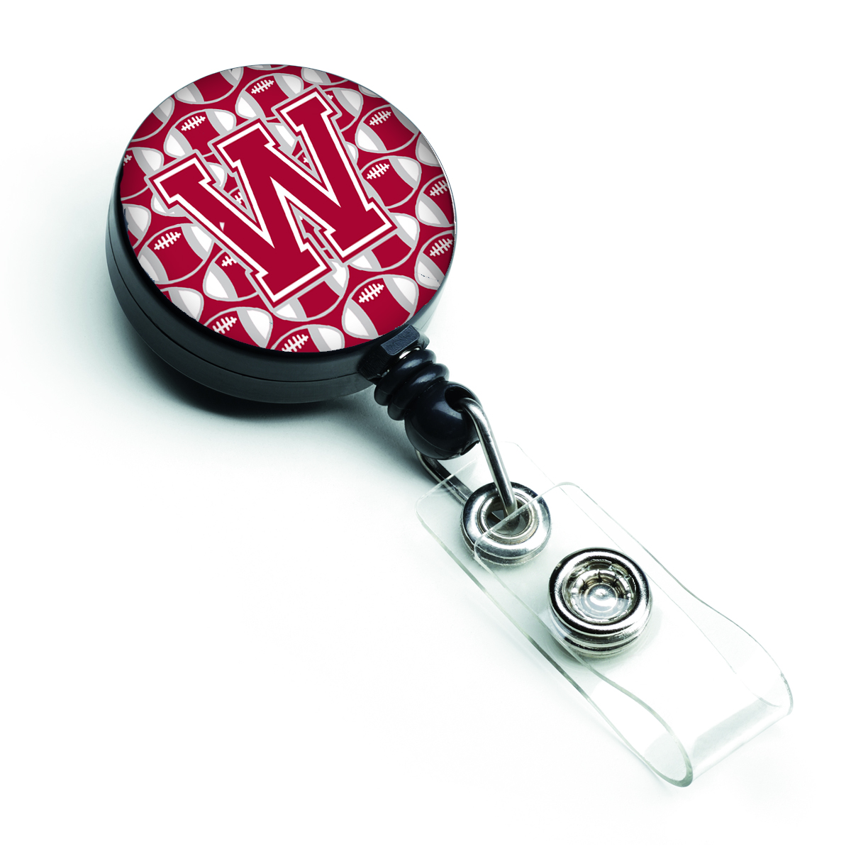 Letter W Football Crimson, grey and white Retractable Badge Reel CJ1065-WBR
