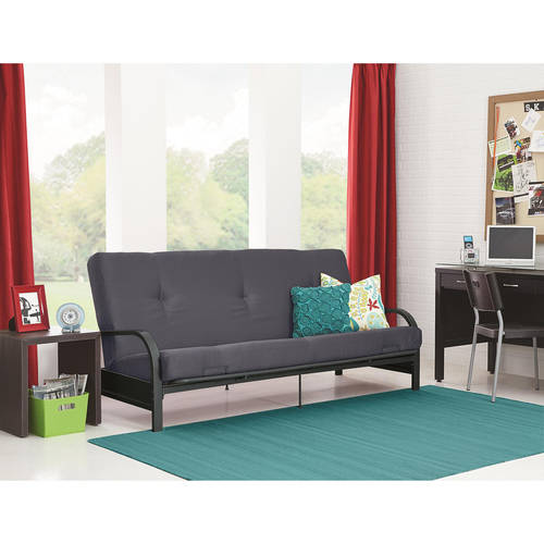 "Mainstays Black Metal Arm Futon with 6"" Mattress, Multiple Colors"