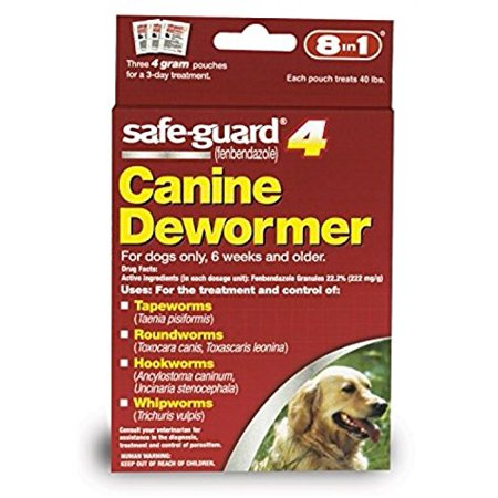 8in1 Safe Guard Safeguard Dogs Large Puppies Pet Wormer 4gr, Safe Guard treats against Tapeworms, Roundworms, Hookworms, and Whipworms By Dog Dewormer