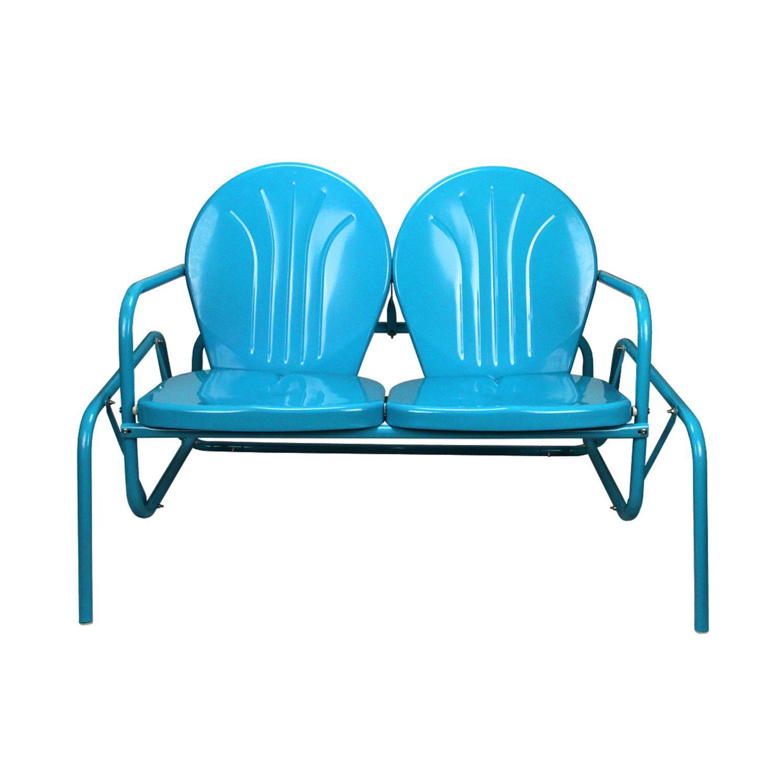 41 turquoise blue retro metal tulip outdoor double glider walmart com