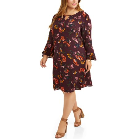 Terra & Sky Women's Plus Floral Print Woven Bell Sleeve Dress - Plus Size Bell Bottoms