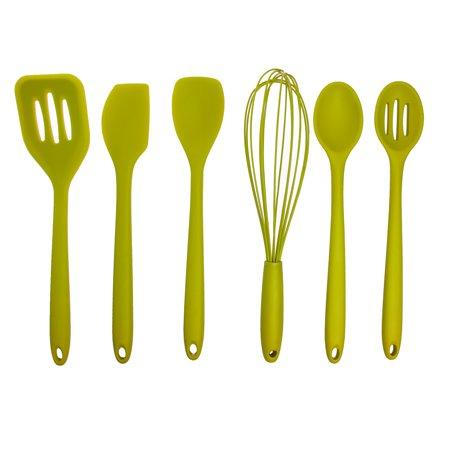 Farberware (6 Piece) Kitchen Utensil Set, Silicone Utensils, Cooking Utensils, Non-Scratch Utensils: Spoonula, Spatula, Spoon Slotted, Turner, Basting Spoon, (Spoonula Set)