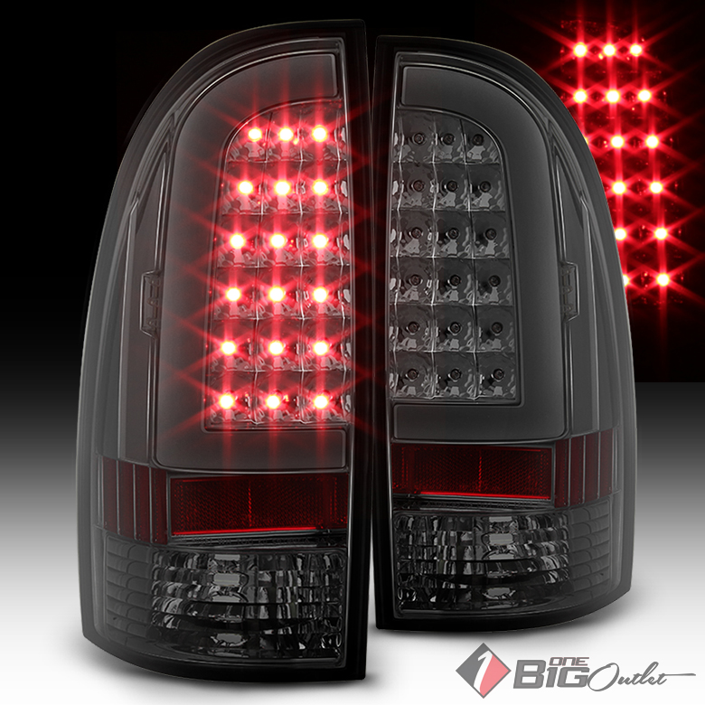 2005-2015 Tacoma Smoked Lens Fiber-Optic Light-Tube LED Tail Lights Pair L+R 2007 2008 2009 2010 2011 2012 2013 2014