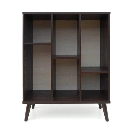 Elizabeth Mid Century Faux Wood Bookshelf, Walnut Finish and Sonoma