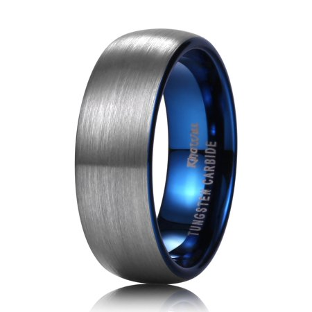 DUO Blue Wedding Bands 7mm Tungsten Rings Women Comfort Fit 12