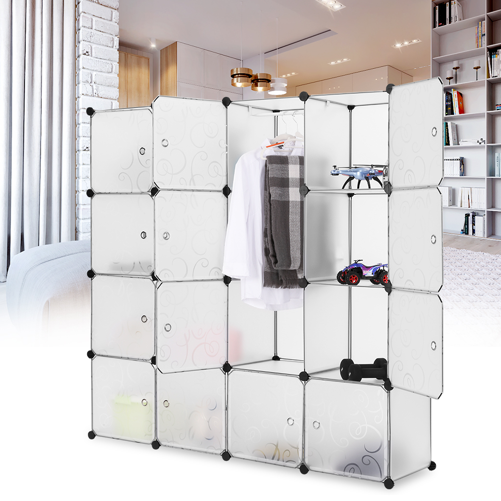 LANGRIA 16-Cube Curly Patterned Interlocking Modular Storage Organizer,Shelving System Closet Wardrobe Rack