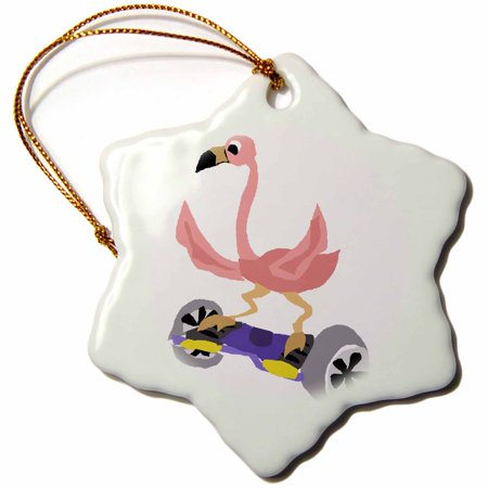 3dRose Funny Pink Flamingo on Hoverboard - Snowflake Ornament, 3-inch - Pink Snowflake
