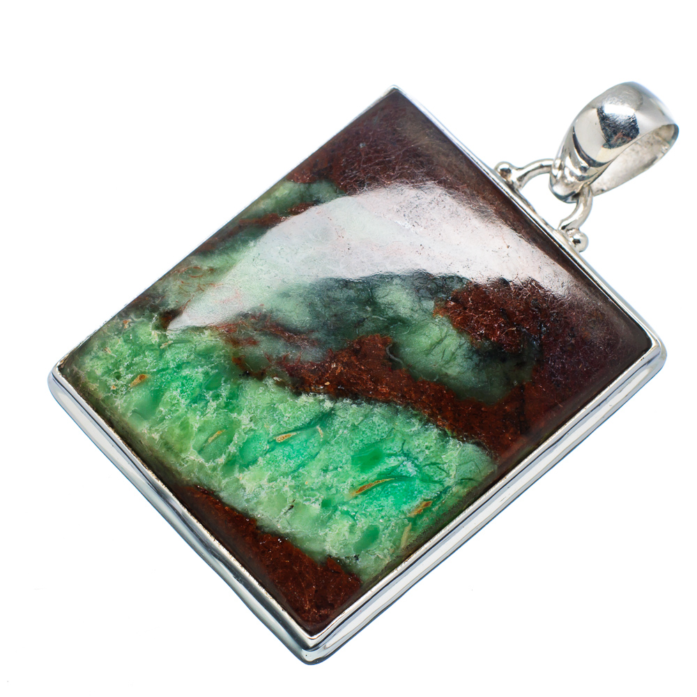"Ana Silver Co Boulder Chrysoprase 925 Sterling Silver Pendant 2"" PD594606 by Ana Silver Co."