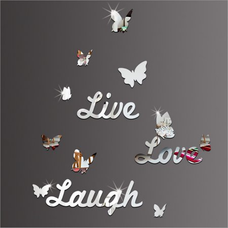 3D Mirror Wall Sticker Live Laugh Love Quote & Butterflies Art Decals Home Decoration Removable