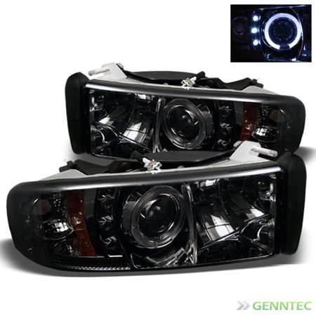 Smoked 1994 2001 Dodge Ram Halo Led Projector Headlights Smoke Head Lights Pair Left Right 1995 1996 1997 1998 1999 2000