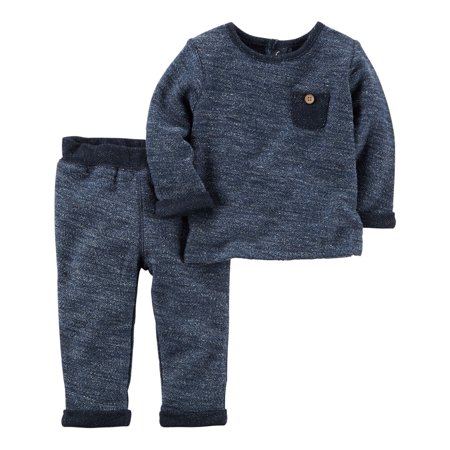 Carters Baby Boys 2-Piece French Terry Top & Pant Set Blue
