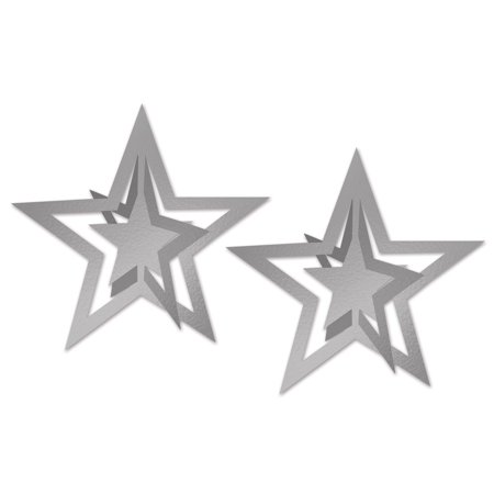 Club Pack of 24 Silver Foil 3-D Awards Night Hanging Stars Decorations 12