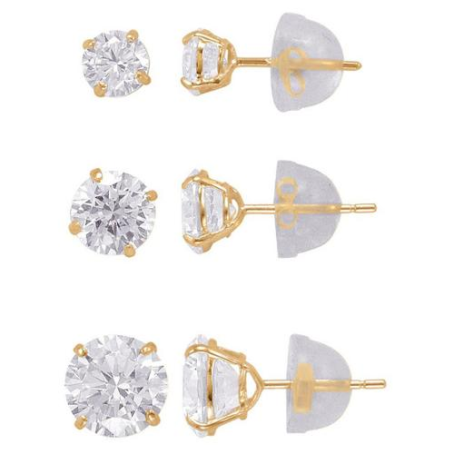 14k Solid Gold 4,5,6,mm Round Superbright CZ Stud Earrings Set Yellow Gold
