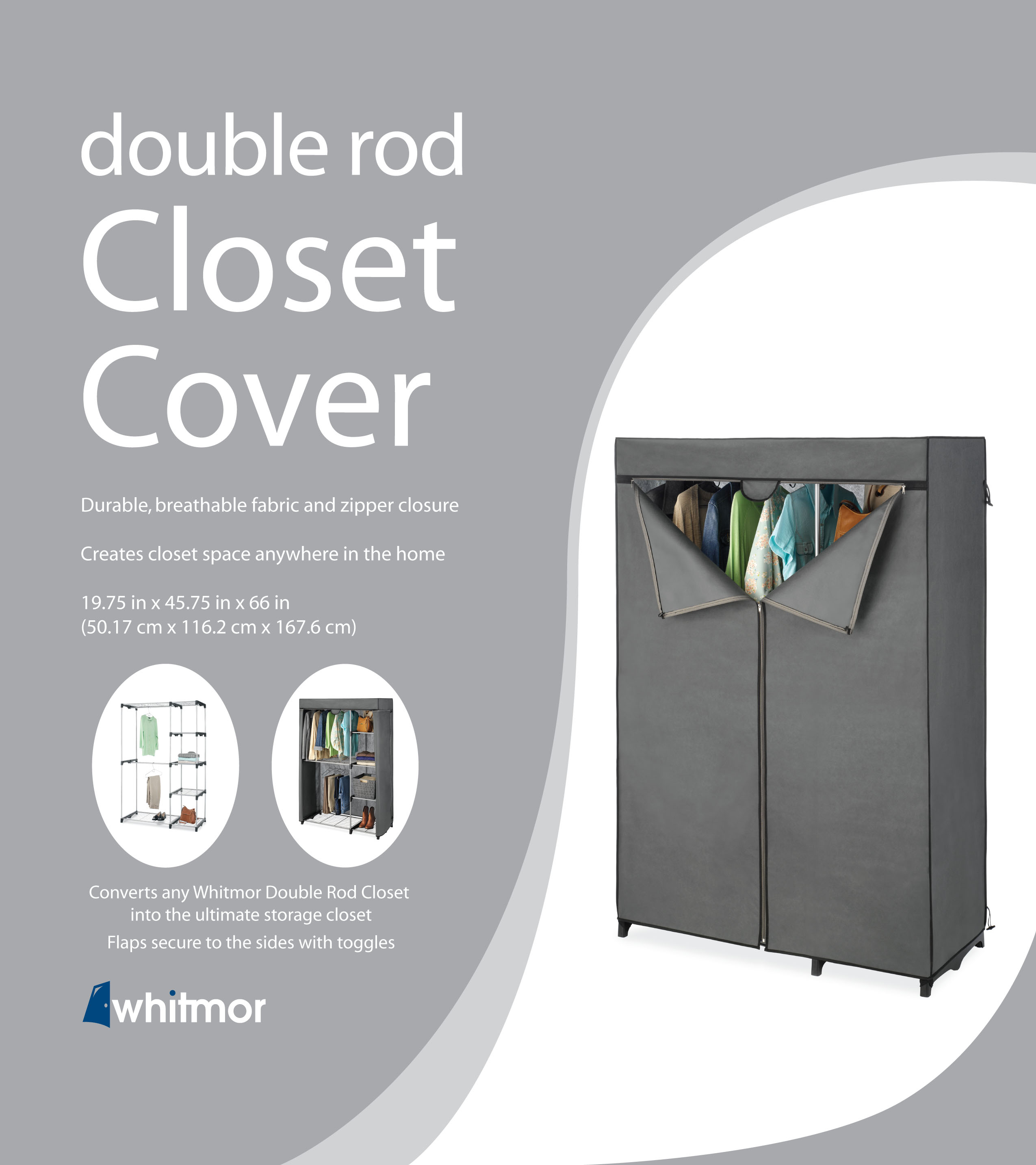 Gray Whitmor COVER ONLY for Double Rod Closet with Heavy Duty Zipper