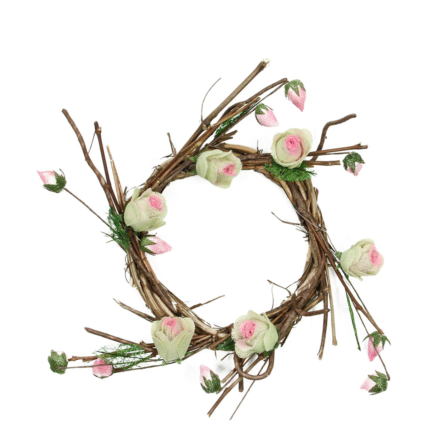 """11"""" Brown Cream and Pink Decorative Artificial Spring Floral Twig Wreath - Unlit"""