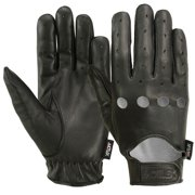 MRX Mens Driving Gloves Basic Soft Outdoor Glove Goat Leather Workout Full Finger, Black (Small)