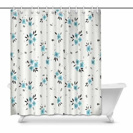 Mkhert Graphic Cute Floral Bathroom Shower Curtain 60x72 Inch