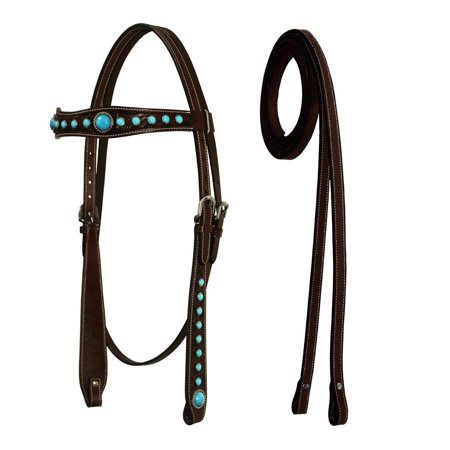 - Tahoe Tack Floral Hand Tooled Turquoise Show Spotted Headstall with Matching Reins -
