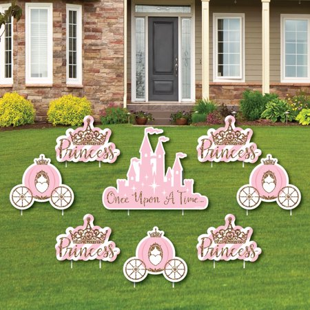 Little Princess Crown - Yard Sign & Outdoor Lawn Decorations - Baby Shower or Birthday Party Yard Signs - Set of 8 (Shower Sign)