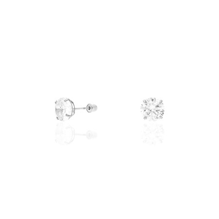 14k White Gold Created Diamond Stud Screw Back Earrings 0.10Ct-4Ct ()
