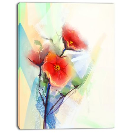 - Design Art 'Red Poppy Flowers on Grunge Back' Painting Print on Wrapped Canvas