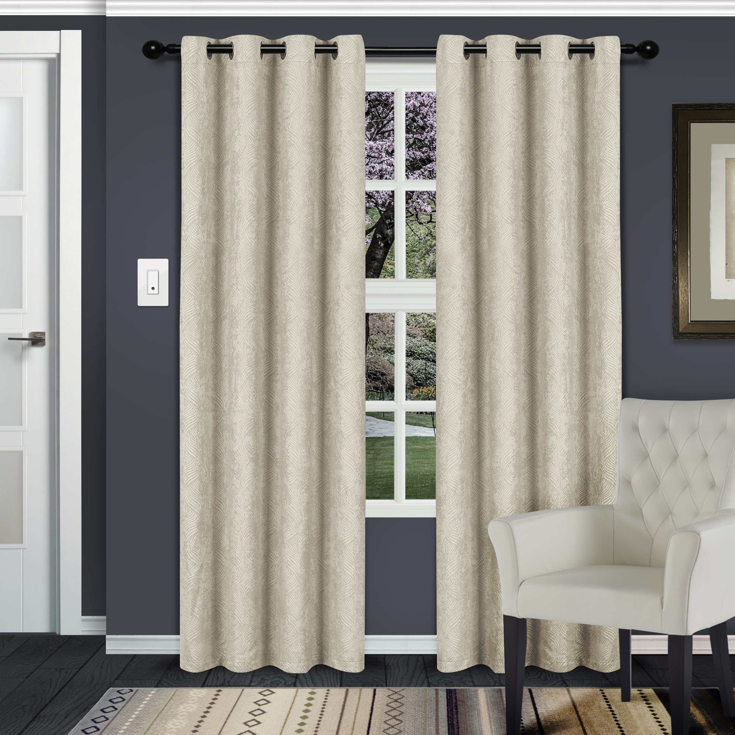 Superior Waverly Textured Blackout Curtain Set of 2, Insulated Panels with Grommet Top