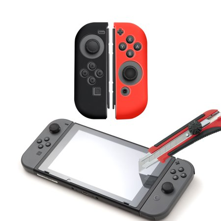 Nintendo Switch Screen Protector Glass by Insten + Silicone Joy Con Skin Case Cover [Left/Right] + Premium HD Tempered Glass Screen Protector Film