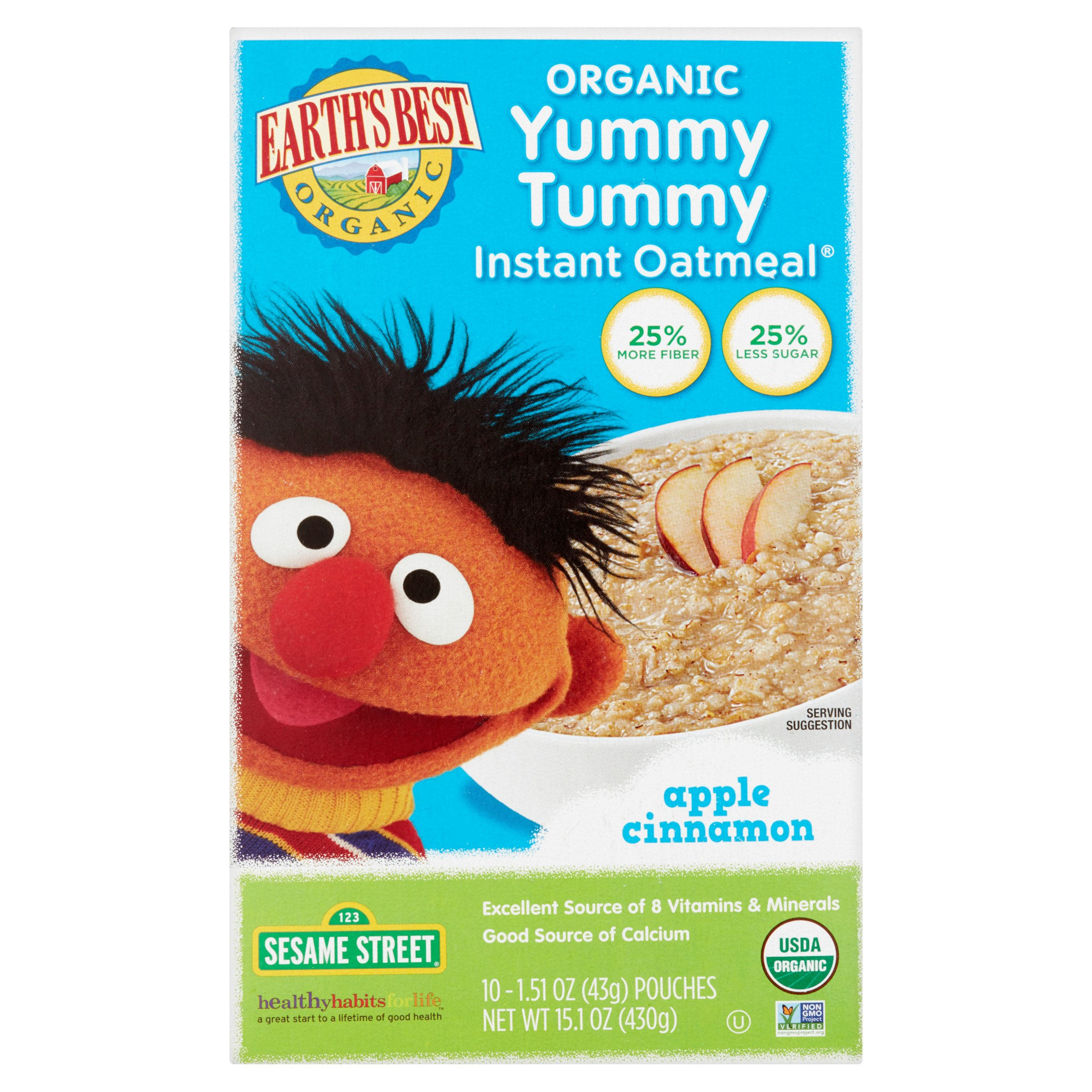 Earth's Best Organic Yummy Tummy Instant Oatmeal Apple Cinnamon 10 CT by Earth%27s Best