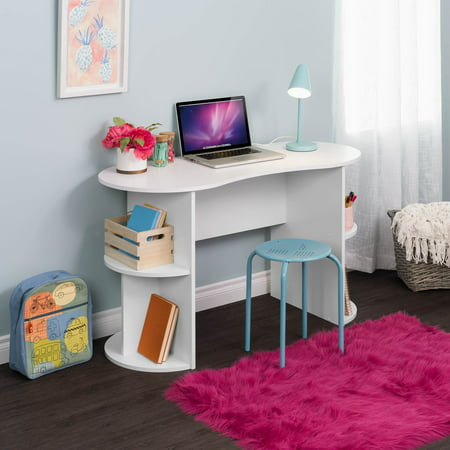 Prepac Kurv Compact Student Desk with Storage, White