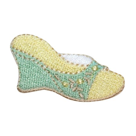 Embroidered Wedge - ID 8540 Ladies Wedge Sandal Patch Shoe Formal Heel Embroidered Iron On Applique