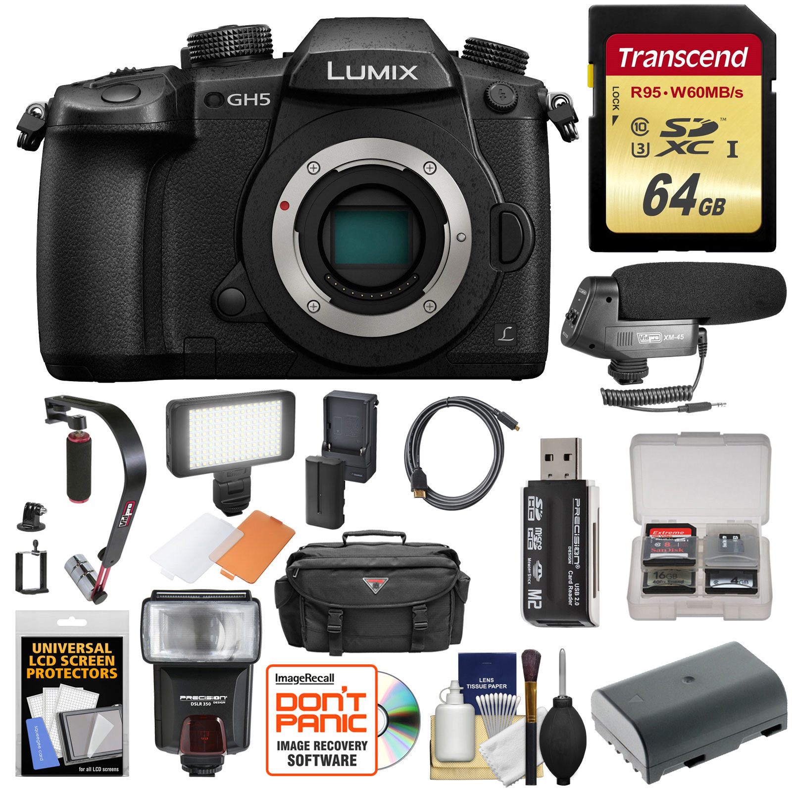Panasonic Lumix DC-GH5 Wi-Fi 4K Digital Camera Body with 64GB Card + Case + Flash + Battery + Mic + Video... by Panasonic